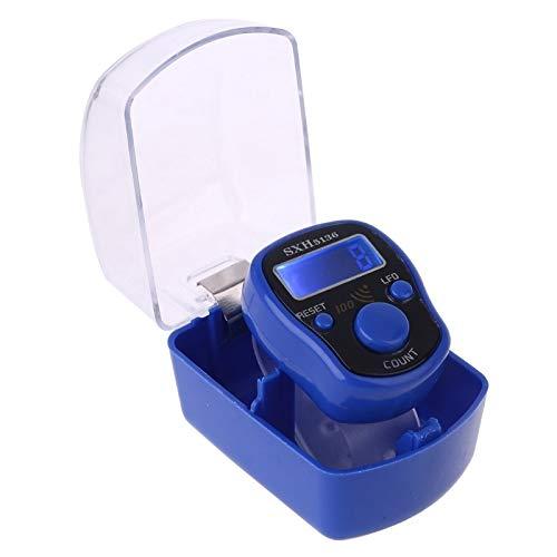 Fingerzähler - Tragbarer Handgelenk digitaler elektronischer Zähler mit LED-Licht- und Schallanleitung Reset-Dekompression Entspannung Finger-Werkzeug für Meditat Zählerzählung. ( Color : Blue )