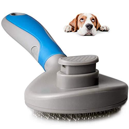 MICHETT Hundebürste & Katzenbürste mit Massage-Effekt Haustierkamm Fellpflege Bürste Unterwollbürste für Knoten Unterwolle Verfilzungen bei Hund und Katze auch für Pferde & Groß Tiere (Blau)