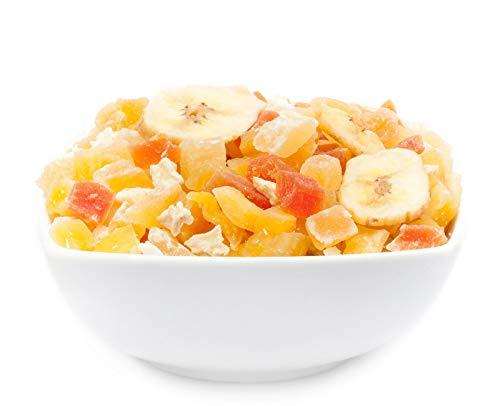 1 x 3kg Exotische Fruchtmischung kandierte Fruchtstücke Papaya Mango Melone Ananas Kokos Apfel Banane fettarm salzfrei vegetarisch glutenfrei laktosefrei