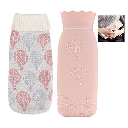 iwobi Wärmflasche aus Silikon, Kinder Wärmebeutel mit Strickbezug, Tragbar Wärmflaschen für Handwärme, Fußwärme, Schmerzlinderung und Schwellungen