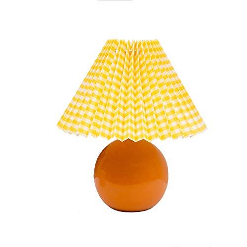 Nachttischlampe, Weiße Keramik Tischlampe, Retro Plissee Schreibtischleuchte, Schlafzimmer Nachttisch Dekorative Lampe, Weißer Lampenschirm E14