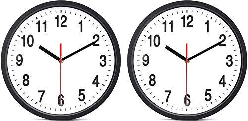 Tebery 2Set Rund Wanduhr 10 Zoll Kinderuhr mit geräuscharmem Uhrwerk Quarz-Wanduhr ohne Tickgeräusche modern für Wohn- /Schlaf- / Kinderzimmer Büro Cafe Restaurant