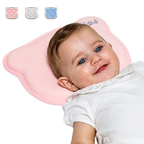 Almohada para Bebe para plagiocefalia desenfundable (con dos forros) para prevenir-curar la Cabeza Plana in Memory Foam Antiasfixia - KoalaBabycare® - Perfect Head - Rosa