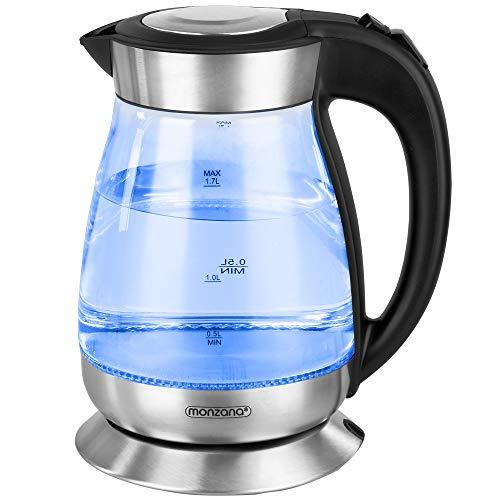 Wasserkocher 1,7 Liter Teekocher LED Beleuchtung Wasserkessel Glas Edelstahl 2200 W Kalkfilter 360 Grad Basis BPA frei