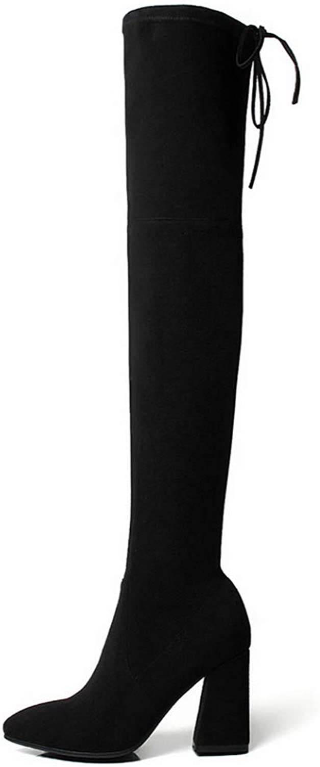Women Winter Boots Long Over The Knee Boots Thick with Elastic High-Heeled Boots Thigh High Boots