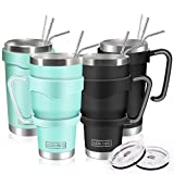 AOKIWO 20oz and 30oz Tumbler, [4 Packs] Stainless Steel Insulated Tumblers Double Wall Vacuum Tumbler Travel Mug with 4 Lids, 8 Straws, 2 Brush and 4 Handles