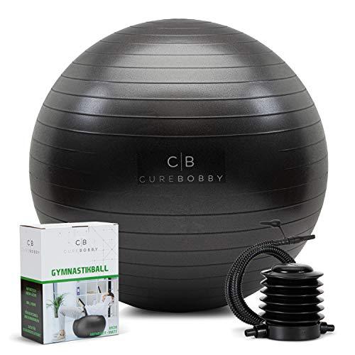 CureBobby - Pelota de gimnasia estable de 55 cm – Pelota de gimnasia lisa – Ideal para deportes de embarazo – Incluye bomba de aire (55)