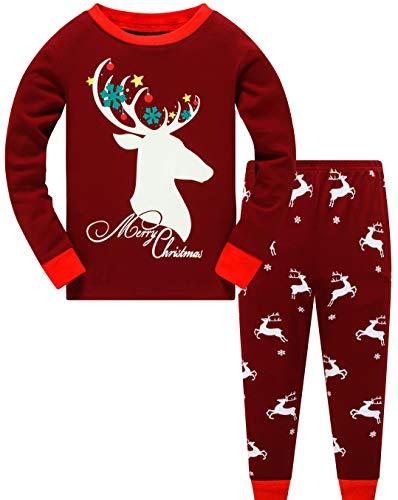 Boys Christmas Pajamas Glow in the Dark Pjs 100% Cotton Girls Xmas Reindeer Shit Toddler Kid Long Sleeve Pj Sleepwear 3t /288