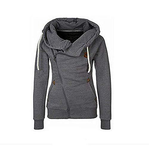 Seamido Women Side Zipper Casaul Hoodies Long Sleeve Warm Sweatshirt-Dark Gray-M