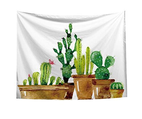 Vioaplem Kaktus Wandteppich, Sommer Wandbehänge Gelb und Grün Aquarell gedruckt Natur große Tischdecken Wandteppich 140 x 100cm