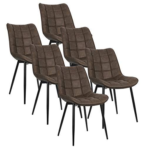 WOLTU 6 x Esszimmerstühle 6er Set Esszimmerstuhl Küchenstuhl Polsterstuhl Design Stuhl mit Rückenlehne, mit Sitzfläche aus Kunstleder, Gestell aus Metall, Braun, BH207br-6