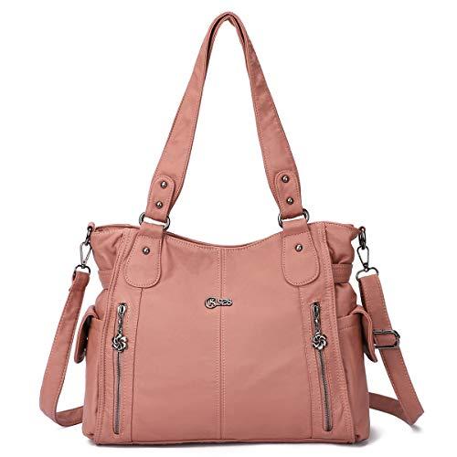 KL928 Tasche Damen Handtasche Umhängetaschen Damenhandtasche Schultertasche Lederhandtasche elegante Taschen hand taschen Henkeltaschen für frauen mit vielen fächern (D Pink)