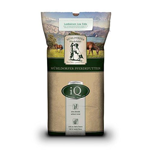 Mühldorfer iQ Landwiesen Low Cobs, 20 kg, zucker- und stärkereduziertes Pferdefutter, ideal für Pferde mit Getreideunverträglichkeiten