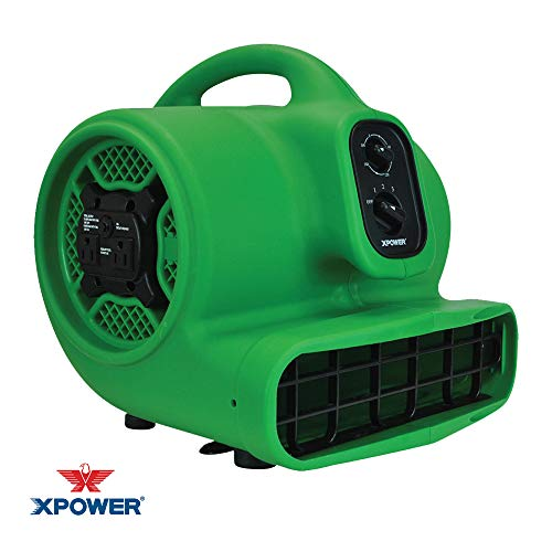 XPOWER P-430AT Medium Air Mover Utility Blower Fan with Built-in Power Outlets - Green