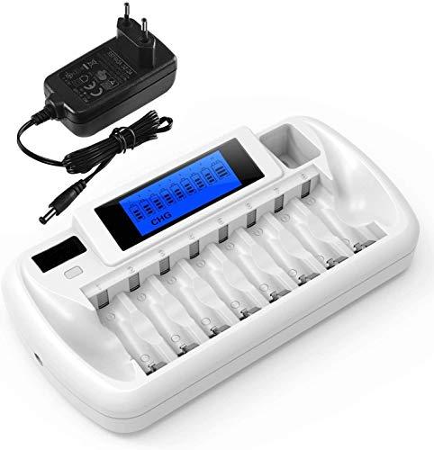iEGrow Akku Ladegerät 9 Slots LCD Batterieladegerät Universal Akkuladegerät für Batterien AA, AAA, 9V Block NI-MH/NI-CD Wiederaufladbare Batterien Ladestation mit Netzadapter