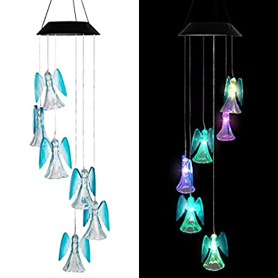 LINKPAL Solar Lights Chimes, Wind Chime, LED Solar Chimes, Memorial Wind Chimes, Changing Color Waterproof Wind Chime for Outdoor Decor, Home Garden Yard Decor, Home Party Night Garden (Angel)
