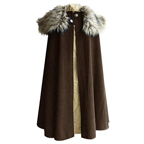 Loozykit Unisex Umhang Lang Wollmantel Retro Steampunk Cape mit Pelzkragen Gothic Mantel Windbreaker Jacke Mittelalterlich Vintage Uniform Cosplay Halloween Fasching Karneval Kostüm