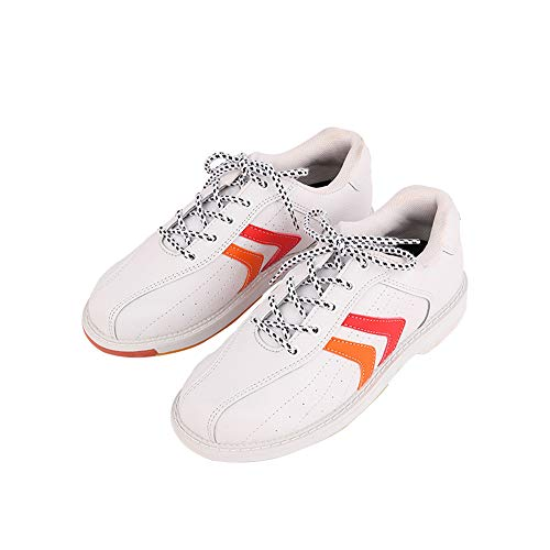 JJK Damen Bowlingschuh, Damen Leder Bowling-Trainer-Schuhe Schnüren Sich Oben Indoor-Sport-Schuh Griffige Bowl Sneakers,Weiß,38