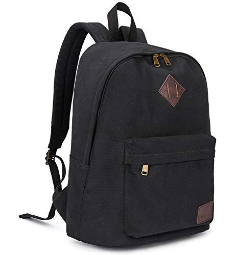 Canvas School Laptop Backpack , Durable Rucksack, Travel Notebook Bag, for Men Women Black