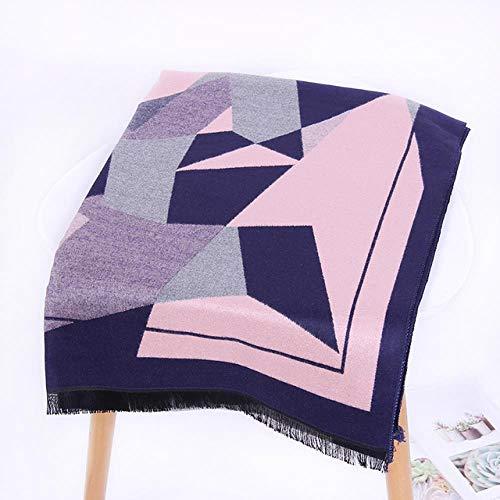 yashuo Winter-Schal-Frauen-Schal-Entwerfer Stricken Warme Schals Und Wickelt Große Quadratische Decken-Dame Shawls,Rosa, 190 * 65Cm Ein