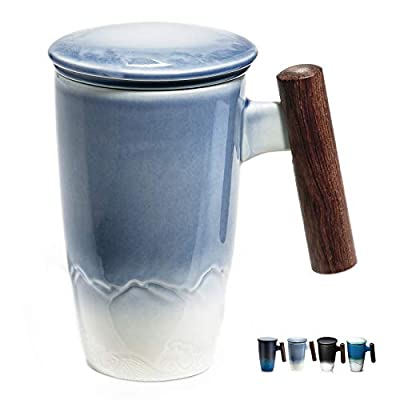 Tomotime 400ml/13.4oz Ceramic Tea Cup with Infuser and Lid Tea Mug with Wooden Handle (z-Blue)