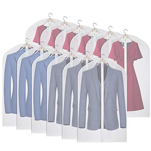 Kntiwiwo Transparente Kleidersack für Anzugstaschen, 12 Stück, hängende staubdichte Kleiderhülle mit Reißverschluss für Anzug, Mantel, Kleiderschrank, Kleideraufbewahrung - 61 x 101,6 cm