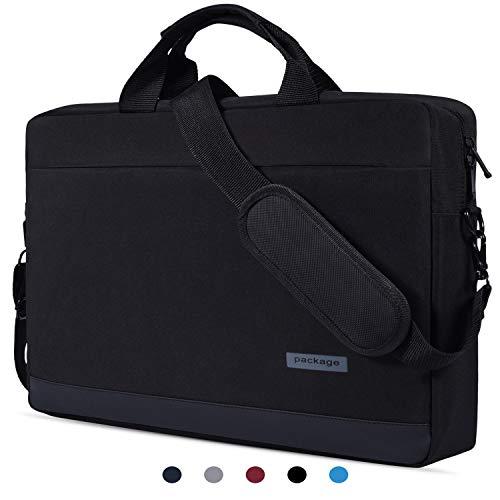 "15.6 inch Laptop Briefcase Messenger Bag Waterproof Laptop Shoulder Bag Compatible with Acer Aspire E 15/Acer Predator Helios 300/Acer Chromebook 15, ASUS Toshiba LG MSI HP 15.6"" Notebook Bag, Black-2"