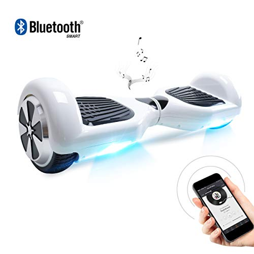 BEBK Hoverboard, 6.5 Zoll Self Balancing Scooter mit Bluetooth Lautsprecher - Tragetasche - LED Lights Elektro Scooter (White)