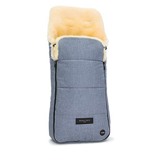 Lammfell-Fußsack AROSA LUXE von WERNER CHRIST BABY – kuscheliger Buggy Fußsack aus medizinisches voll-Fell, als Wickelunterlage & Kinderwagen-einlage verwendbar, in blu (blau meliert)