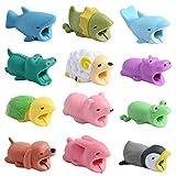 Paquete de 12 Bonitos Protectores con diseño de Animales, Evita la Rotura de Cables, Funda Protectora para USB, Varios Cables de Animales masticadores, minicables