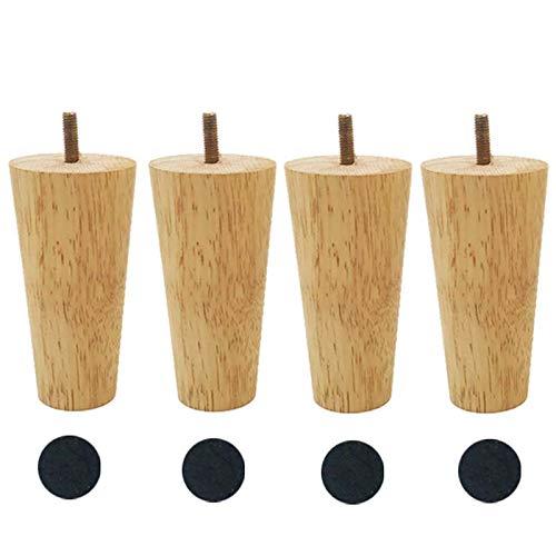 8 inch/20 cm massief houten meubelpoten, set van 4, taps toelopende vervangende voeten, voor keuken dressoir bar salontafel stoel