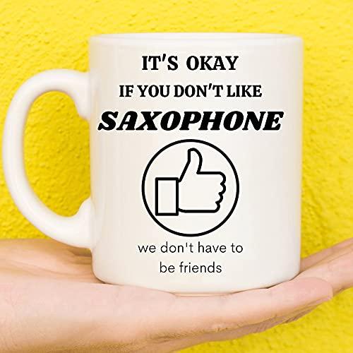 Regalos de saxofón, regalos para jugadores de saxofón, regalos relacionados con saxofón, regalo de saxofón, regalos divertidos del saxofón, regalos temáticos del saxofón, taza de café 15 onzas