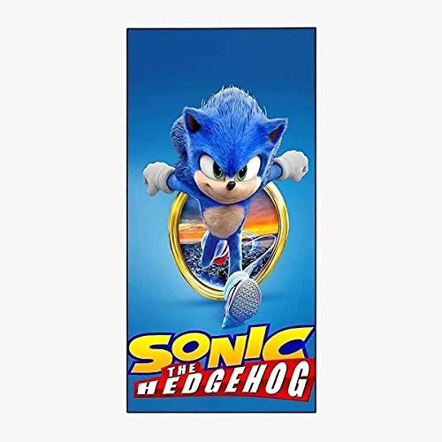 Toalla de playa Sonic Anime, The Hedgehog para niños, tiempo libre hawaiano, vacaciones en la playa, necesidades de piscina (Blue Blur6,80 x 130 cm)