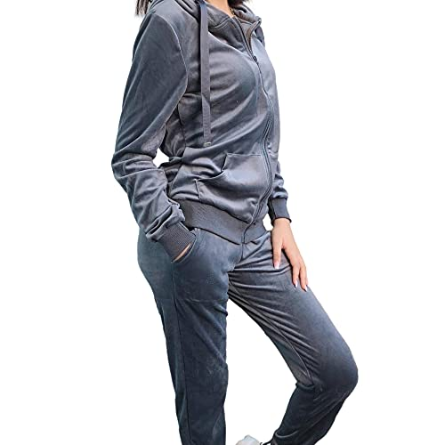 Emma & Ashley Design Trainingsanzug für Damen, 2-teilig, Sportswear aus Velours, Kapuzen-Sweatshirt mit langen Ärmeln und Jogginghose, S-XXL, dunkelgrau, 48