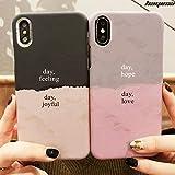 YABAISHI デカール適しIPhoneXSMAXクリエイティブ電話シェルアップル6/7 / 8PLISカップルヒット色スリムXR保護スリーブ (Color : Grey Pink-iPhoneX)
