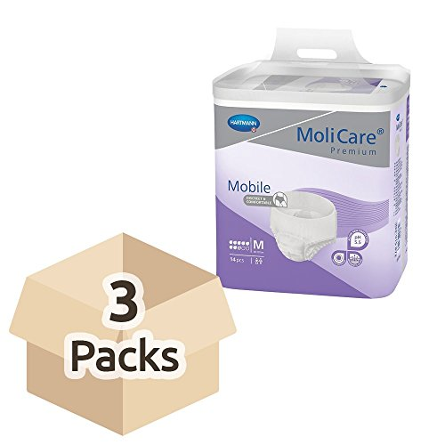 Hartmann Molicare Premium Mobile 8 Medium - Caja de 3 paquetes de 14 pantalones de incontinencia