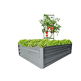 "zizin Galvanized Raised Garden Beds Kits Metal Elevated Planter Box Steel Vegetable Flower Bed Kit Bottomless for… 2 Anti-rust Galvanized Steel Planter Box: Metal raised garden bed Kit can stand the test of outdoor environment and time, not perishable and durable. Open-Bottom Garden Beds: Vegetable planter box prevents water from building up at its base,the root system of plants can grow naturally without any other restriction. Size: 47.2""x35.4""x11.8"" (LxWxH), raised bed holds about 11 cubic feet soil, give the plants plenty of room to grow."