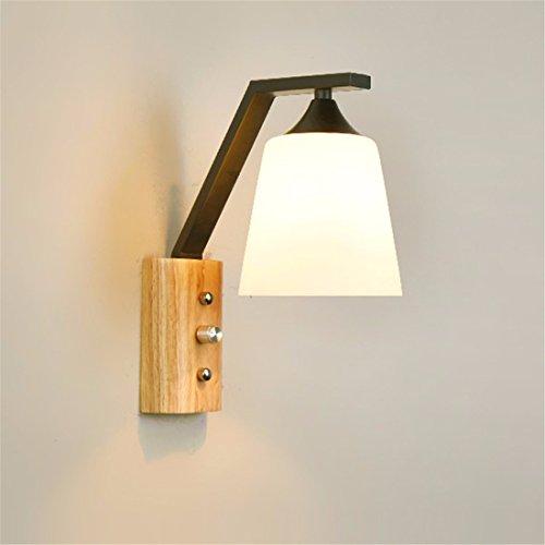 SiwuxieLamp applique murale Lampe de chevet chambre allée en bois massif moderne minimaliste, noir lumière support