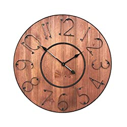 ZXLRH Wall Clocks, Wooden Retro Operated Clocks Living Room Home Clock European-Style Home Scan Motion Creative Operated Clocks Living Room Bedroom 60Cm X 60Cm