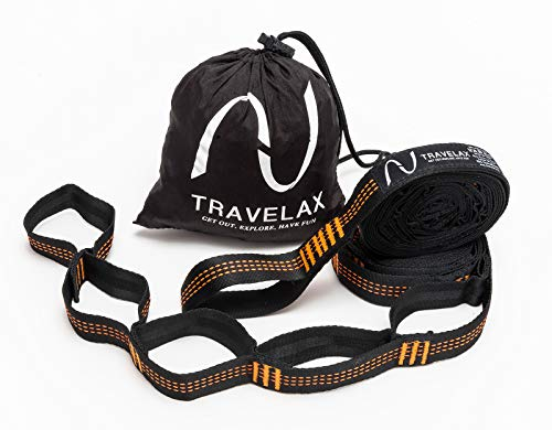 Travelax Adjustable and Extra-Long Hammock Tree Strap Set with 22 Loops for Quick And Easy Setup