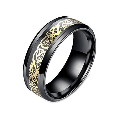 PAMTIER Ehering für Damen und Herren, Edelstahl, Karbonfaser, keltisches Drachenmuster, Titan Gold Edelstahl,