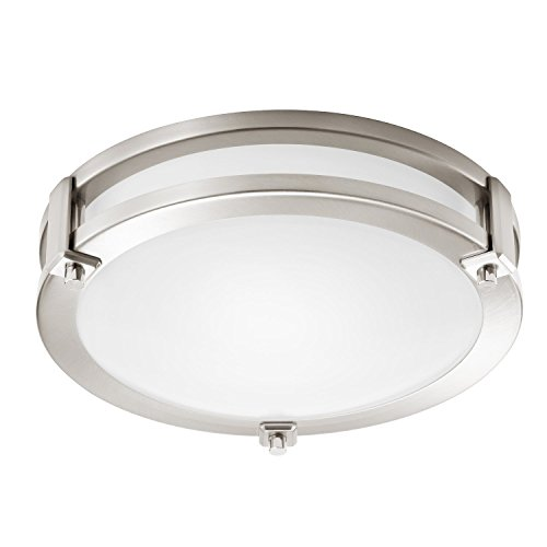 GetInLight LED Flush Mount Ceiling Light, 12-Inch, 15W(75W Equivalent), Brushed Nickel Finish, 3000K(Soft White), Dimmable, Round, Dry Location Rated, ETL Listed, IN-0307-1-SN
