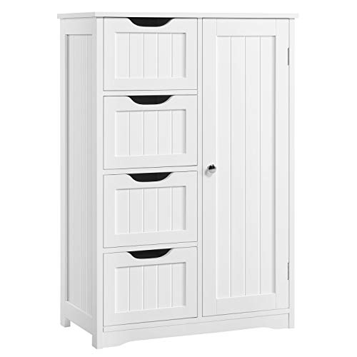 Topeakmart Free-Standing Cabinet Wooden Bathroom Cabinet Storage Cabinets Four Drawers and Cupboard for Bathroom and Kitchen