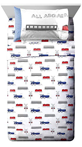 Jay Franco Trend Collector All Aboard Twin Sheet Set - 3 Piece Set Super Soft and Cozy Kid's Bedding - Fade Resistant Microfiber Sheets