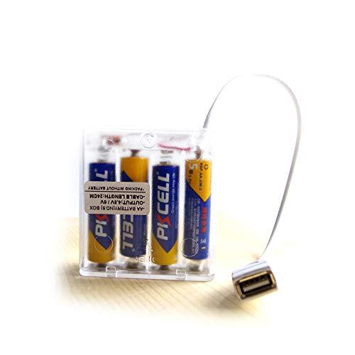 Toma hembra USB Caja transparente de 4 pilas AA Salida de 4.8 voltios o 6 voltios, Con el interruptor de apagado