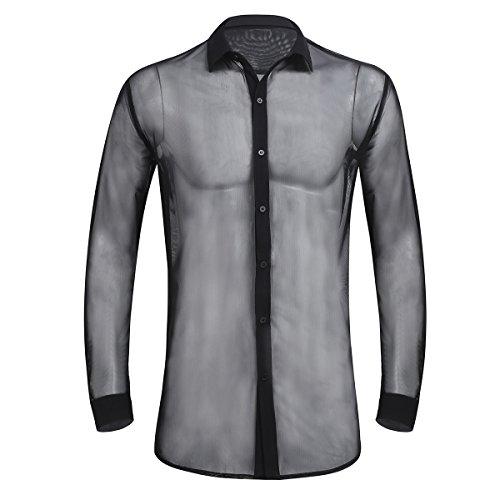 Alvivi Männer Transparent Shirts Langarm Hemd Durchsichtig Unterwäsche Unterhemd T-Shirt Untershirt Netzhemd Clubwear Schwarz L