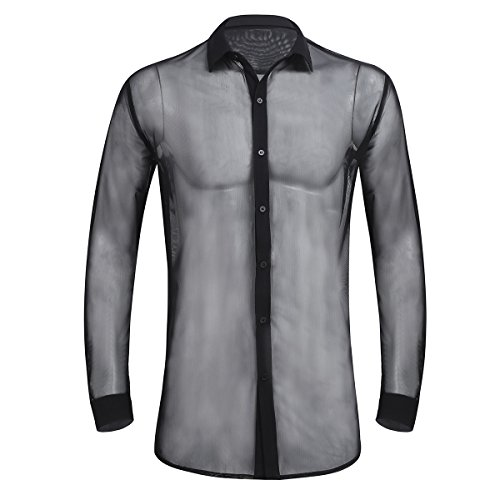 iiniim Herren Shirt Transparent Mesh Langarmshirt Tops Männer Reizvoll Party Club Shirt Unterwäsche M-XL Schwarz XXL