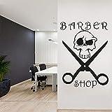 Barbería pegatinas de pared salón de belleza arte tatuajes de pared decoración de la habitación mural diseño de la habitación calavera tijeras