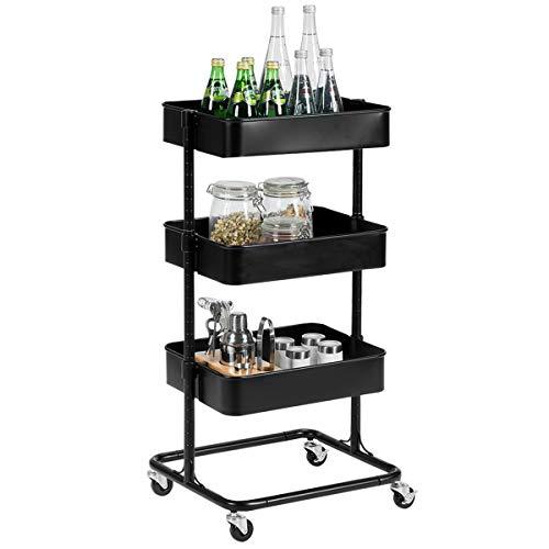 Giantex Rolling Utility Cart Mobile Storage Organizer Multifunctional Home Office Storage Trolley Serving Cart w/Metal Mesh Shelves Lockable Wheels (Black, 3-Tier)