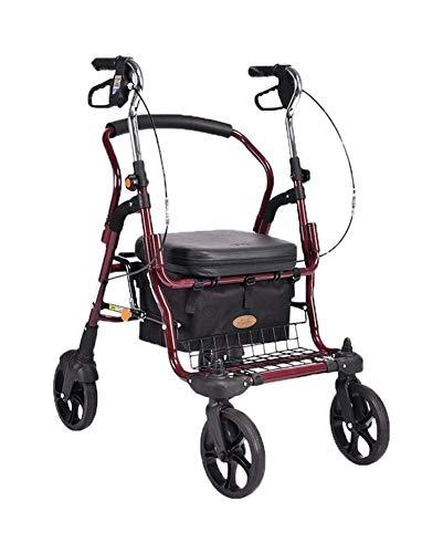 GJX Andadores Ancianos Plegable Andador Carro Creativo Light- Viejo Compras, Ancianos Walker Cuatro Ruedas For Silla De Ruedas con Un Ligero Plegable